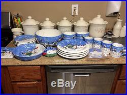 St. Nicholas Square BUTTON UP DINNERWARE Plate Snowman Family 24 PIECE SONOMA