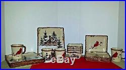 St. Nicholas Square Snow Valley Christmas Dishes Set/16 RETIRED Lt1 Dinnerware