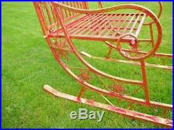 Stunning Large Santa's Sleigh Metal Freestanding In Red With Gold Leaf Finish