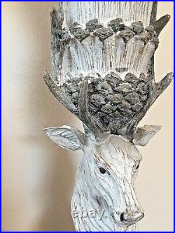 Stunning Tall Rustic Stag Head Candle Holder Candlestick Nordic Style 30cm High