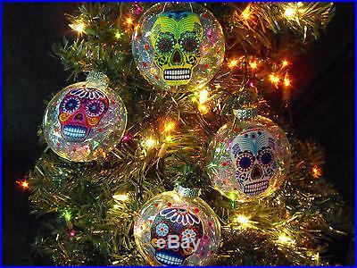 Sugar Skulls Decorated Glass Christmas Ornaments Set of 4