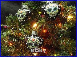 Sugar Skulls Decorated Glass Heart Christmas Ornaments Set of 6