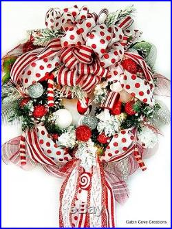 Sweet Treat Christmas Holiday Wreath Prelit red white matching garland available