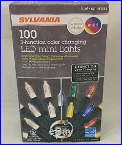 NIB Sylvania Stay-Lit Platinum Color Changing 3-Function LED Mini X-mas
