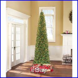 TALL 9′ Pre-Lit Pencil Christmas Tree Narrow Holiday Decor Green Clear Lights
