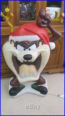 Taz Tazmanian Devil Large Santa's Best Christmas Blowmold 40 Tall