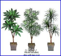THREE 6′ Artificial Palm Tree Yucca, Phoenix, Bird Nest Silk Plants, with No Pot