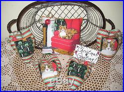 TRADITIONAL CHRISTMAS CAT FABRIC PILLOW HEART ORNAMENTS SHELF SITTER DECOR