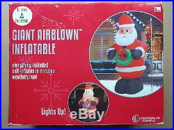 TRIM-A-HOME INDOOR/OUTDOOR GIANT AIRBLOWN INFLATABLE SANTA CLAUS 8' TALL