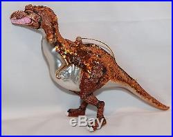 T-REX Tyrannosaurus Rex Hand Blown Glass & Resin Ornament Dinosaur Age NEW