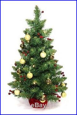 Tabletop 2' Christmas Tree Battery operated LED lights red berries gold balls
