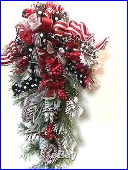 Teardrop Swag Winter Christmas Holiday Snow Wreath Xl In