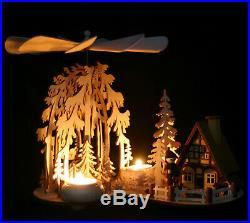 Teelicht Pyramide mit Räucherhaus Waldmotiv Fachhändler aus dem Erzgebirge