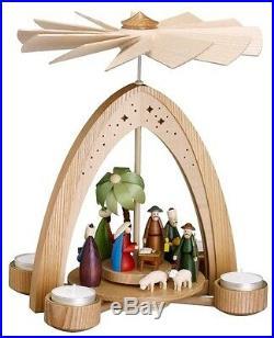 Teelichtpyramide natur mit Christi Geburt bunt 28cm Pyramide NEU Seiffen Erz