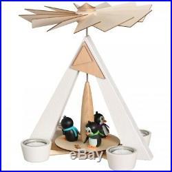 Teelichtpyramide weiß Pinguine Höhe 28 cm NEU Erzgebirge Weihnachtspyramide