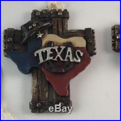 Texas Christmas Tree Ornaments Western Home Decor Set of 4 NEW