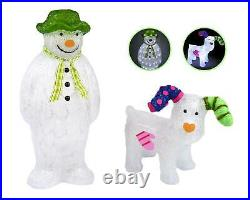 The Snowman Snowdog Set Acrylic Figure LED Garden Outdoor Christmas Decoration