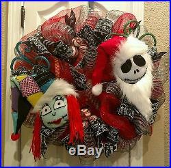 The nightmare before Christmas jack and sally Christmas wreath handmade decor