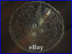 Thick Glass Christmas Candy Dish Frosted and Embellished Pattern 6 1/4