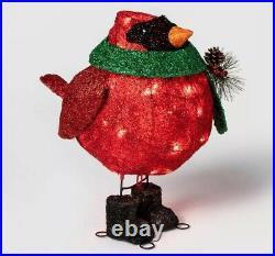 Tinsel Cardinal Bird Sculpture withLights Xmas Holiday Decoration Indoor/Outdoor