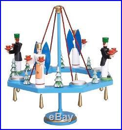 Tischkranz blau mit Teelicht/Engel u. Bergmann Ø =38 cm NEU Weihnachtskranz