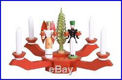 Tischleuchter rot mit Engel und Bergmann Ø = ca 40 cm NEU Adventsleuchter Kerzen