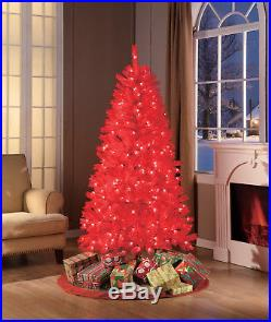 Top Quality Holiday Time 6′ Red Christmas Tree Decor Clear Lights FREE SHIPPING