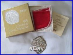 Towle Sterling 1984 Hawthorn Christmas Floral Pendant Ornament Medallion Vintage