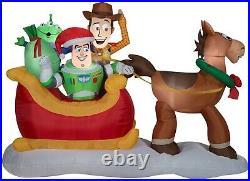 Toy Story Sleigh Airblown Inflatable Woddy Buzz Bullseye Disney OPEN BOX