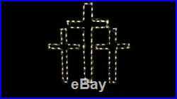 Triple Cross Christmas Holiday Outdoor LED Lighted Decoration Steel Wireframe