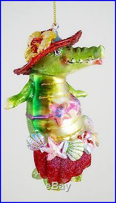 Tropical Alligator in Red Skirt and Hat Christmas Holiday Tree Ornament