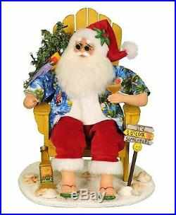 Tropical Santa With Margarita & Lighted Tree Seated In Yellow Beach Chair