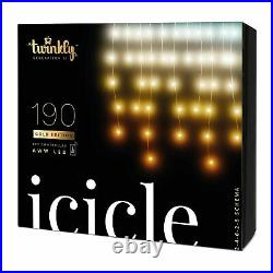 Twinkly 190 LED Amber & White 16×2 Ft Bluetooth Outdoor Christmas Icicle Lights