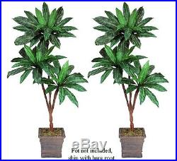 Two 6′ Bird Nest Triple Artificial Palm Tree Silk Plants, with No Pot