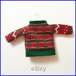 UGLY TACKY CHRISTMAS SWEATER ORNAMENT Plaid Ribbon BELLS Sequins Hostess Gift