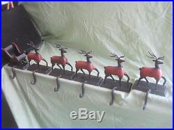 UNBELIEVABLE Set of 6 Reindeer & Sleigh Christmas Holiday Stocking Hangers