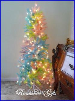 UNICORN Rainbow PASTEL Princess Slim Pencil Pre-Lit Christmas Tree 5 ft by 24