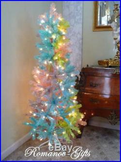 UNICORN Rainbow PASTEL Slim Pencil Pre-Lit Christmas Tree 5 ft by 24