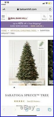 Used Balsam Hill saratoga spruce 7 foot Christmas Tree MIB