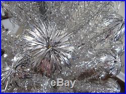 Vintage 6 1/2′ Aluminum Pom Pom Christmas Tree! 100 Branches! Nice With Box
