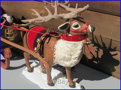 Vintage Animated Santa On His Sleigh Pulled By His