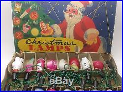 VINTAGE CHRISTMAS LIGHTS 40′s 16 LAMP MILK GLASS FIGURAL DECORATION SET WORKING