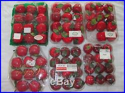 VINTAGE RED APPLE CHRISTMAS ORNAMENTSLACQUER FINISHLOT OF 68CRAFTS2 SIZES