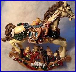 VINTAGE ROCKING HORSE LARGE CHALKWARE CHRISTMAS ORNAMENT DECORATION ELEGANT