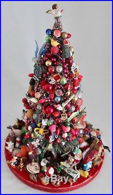 VTG13 Bottle Brush Christmas Tree Mercury Glass Ornaments Trinkets & Treasures