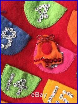 VTG Bucilla Advent Calendar Counting the Days til Santa Completed Kit Jeweled