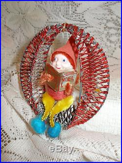 Vtg Shiny Brite Japan Elf Pinecone Ornamentspun
