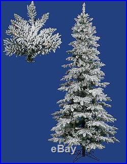 Vickerman 6.5′ Pre-lit Snow Flocked Layered Utica Slim Christmas Tree Multi