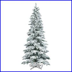 Vickerman 7.5 ft. Flocked Slim Utica Fir Christmas Tree, Green, 7.5 ft