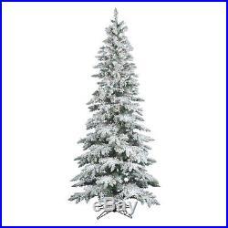 Vickerman 7.5 ft. Flocked Slim Utica Fir Pre-lit LED Christmas Tree, White, 7.5